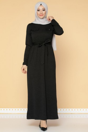 Beli Lastikli Kemerli Tesettür Elbise-3029 Siyah - Thumbnail