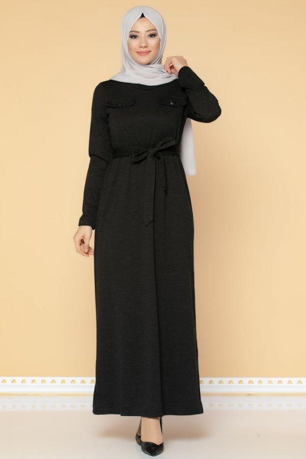 Beli Lastikli Kemerli Tesettür Elbise-3029 Siyah