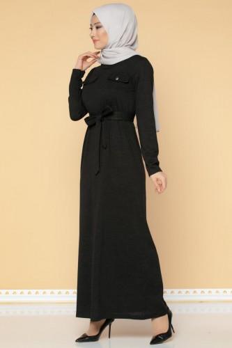 Modaebva - Beli Lastikli Kemerli Tesettür Elbise-3029 Siyah
