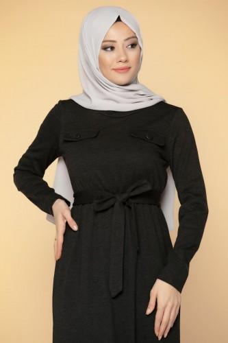 Modaebva - Beli Lastikli Kemerli Tesettür Elbise-3029 Siyah (1)