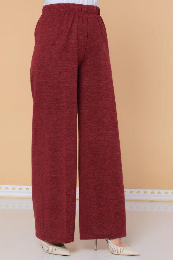 Beli Lastikli Yumoş Pantolon-3026 Bordo