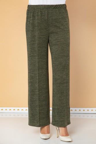 Modaebva - Beli Lastikli Yumoş Pantolon-3026 Hakiyeşil