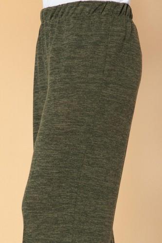 Modaebva - Beli Lastikli Yumoş Pantolon-3026 Hakiyeşil (1)