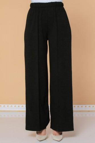 Modaebva - Beli Lastikli Yumoş Pantolon-3026 Siyah