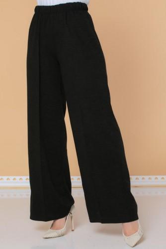 Modaebva - Beli Lastikli Yumoş Pantolon-3026 Siyah (1)