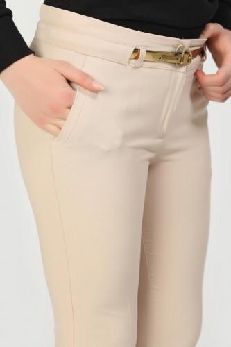 - Bilek Boy Gold Kemerli Cepli Pantolon-3434 Taşrengi (1)