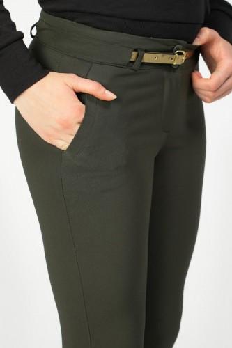 - Bilek Boy Gold Kemerli Cepli Pantolon-3434 Hakiyeşil (1)