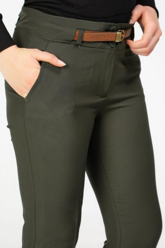 - Bilek Boy Kemerli Cepli pantolon-3030 Hakiyeşil (1)