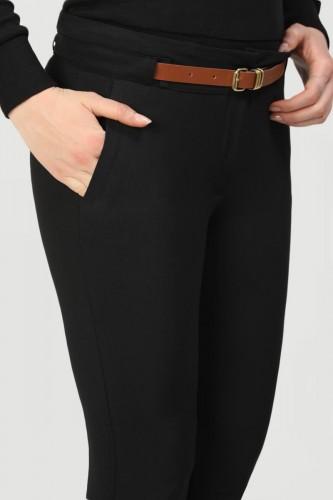 - Bilek Boy Kemerli Cepli pantolon-3030 Siyah (1)