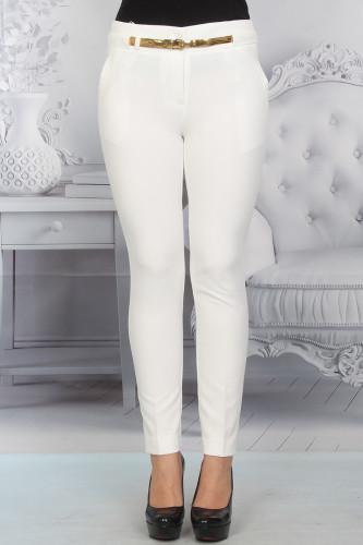 - Bilek Boy Kemerli Pantolon-0530Beyaz