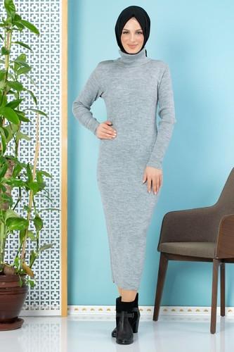 Modaebva - Bilek Üstü Fitilli Tesettür Triko Elbise-300 Gri