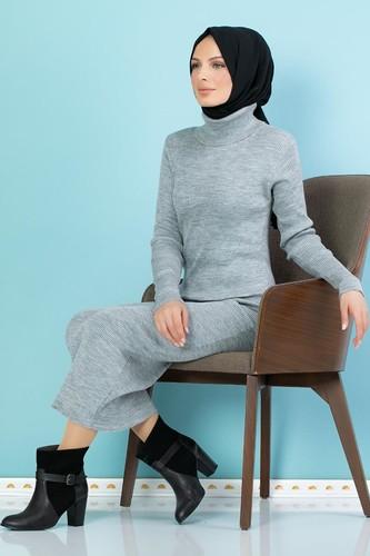 Modaebva - Bilek Üstü Fitilli Tesettür Triko Elbise-300 Gri (1)