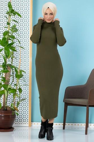 Modaebva - Bilek Üstü Fitilli Tesettür Triko Elbise-300 Hakiyeşil