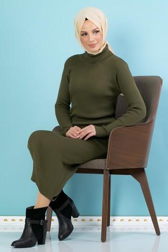 Modaebva - Bilek Üstü Fitilli Tesettür Triko Elbise-300 Hakiyeşil (1)