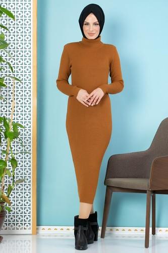 Modaebva - Bilek Üstü Fitilli Tesettür Triko Elbise-300 Hardalsarısı