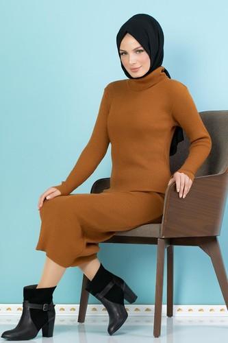 Modaebva - Bilek Üstü Fitilli Tesettür Triko Elbise-300 Hardalsarısı (1)