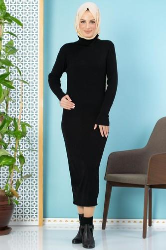 Modaebva - Bilek Üstü Fitilli Tesettür Triko Elbise-300 Siyah