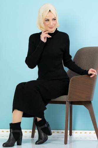 Modaebva - Bilek Üstü Fitilli Tesettür Triko Elbise-300 Siyah (1)