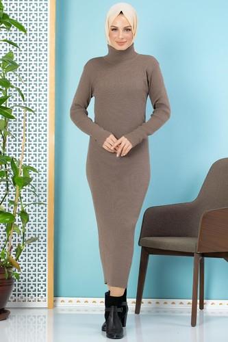 Modaebva - Bilek Üstü Fitilli Tesettür Triko Elbise-300 Vizon