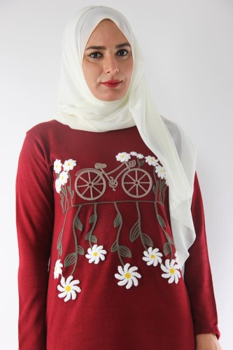 Modaebva - Bisiklet Yaka Çiçekli Triko Tunik-Bordo0570 (1)