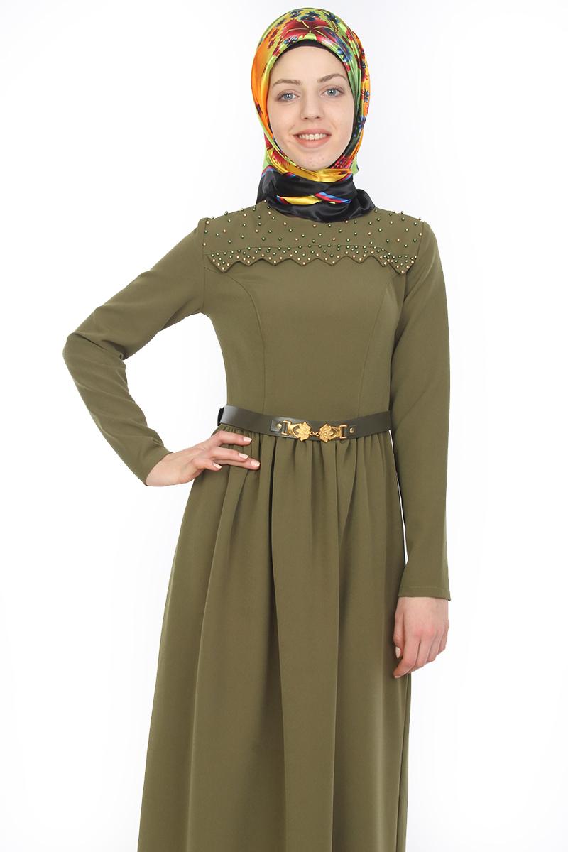 a1ed04d683c51 Bisiklet Yaka İnci Detaylı Elbise Yeşil-ZRD1071 Elbise - Modaebva