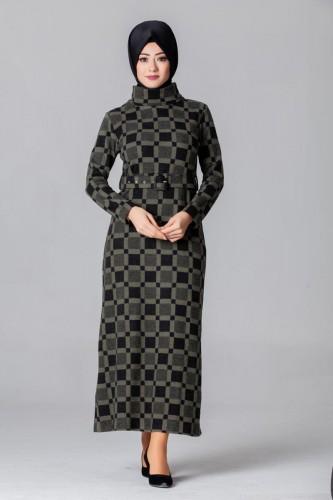 Modaebva - Boğazlı Kemerli Tesettür Elbise-1560YeşilSiyah