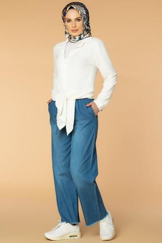 Modaebva - Bol Paça kot pantolon-7258 Mavi