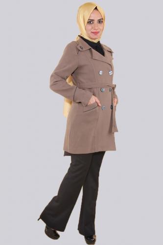 - Ceket Yaka Çift Düğmeli Kaban-Kahve0591 (1)