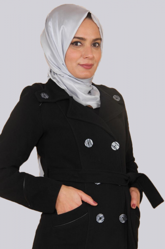 - Ceket Yaka Çift Düğmeli Kaban-Siyah0591 (1)
