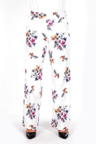 - Çiçek Baskılı Cepli Pantolon-1706Beyaz