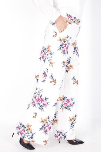- Çiçek Baskılı Cepli Pantolon-1706Beyaz (1)