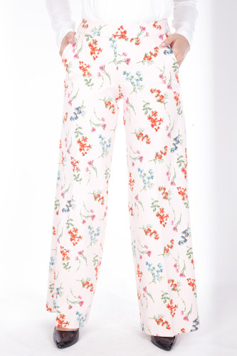 - Çiçek Baskılı Cepli Pantolon-1706Pudra