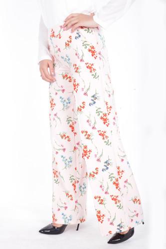 - Çiçek Baskılı Cepli Pantolon-1706Pudra (1)
