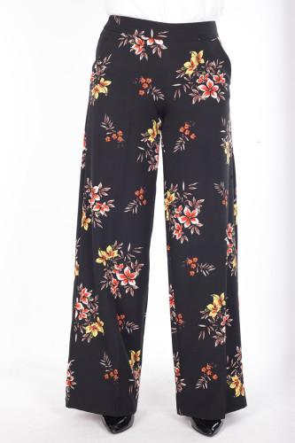 - Çiçek Baskılı Cepli Pantolon-1706Siyah