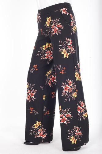 - Çiçek Baskılı Cepli Pantolon-1706Siyah (1)