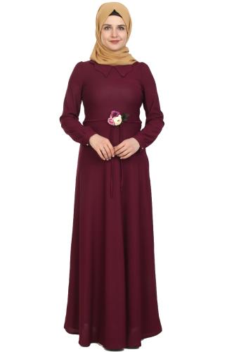 Modaebva - Çiçek Kemerli Elbise-Mürdüm0081