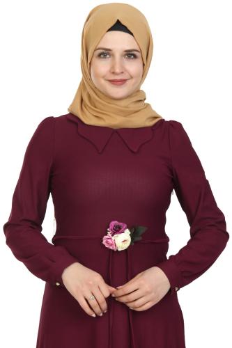 Modaebva - Çiçek Kemerli Elbise-Mürdüm0081 (1)