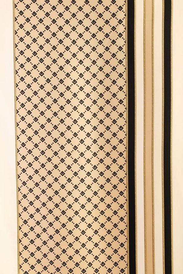 Çizgi Detay Desenli Eşarp-1136 Krem