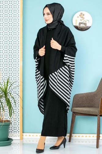Modaebva - Çizgi Detay İkili Triko Takım-700 Siyah(Düz Siyah Elbise)