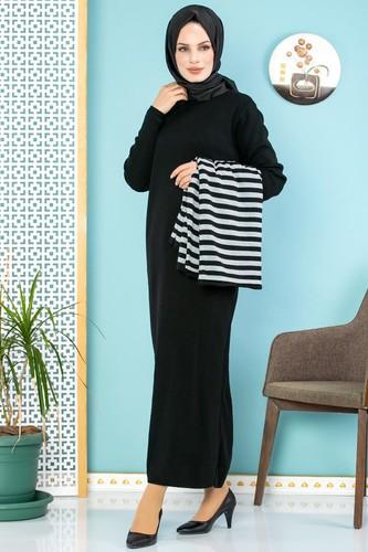 Modaebva - Çizgi Detay İkili Triko Takım-700 Siyah(Düz Siyah Elbise) (1)