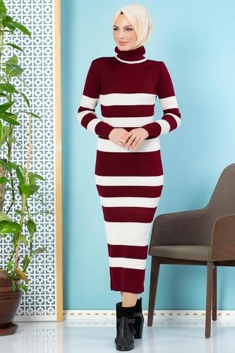 Modaebva - Çizgili Bilek Üstü Triko Elbise-301 Bordo