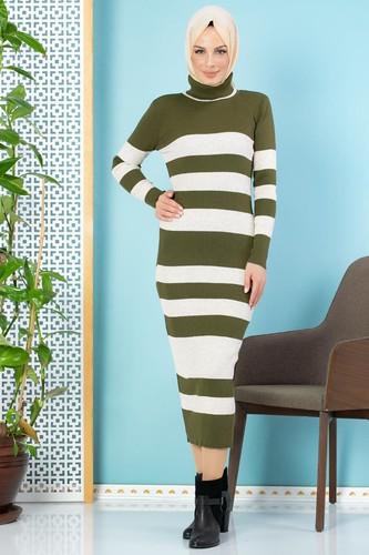 Modaebva - Çizgili Bilek Üstü Triko Elbise-301 Hakiyeşili