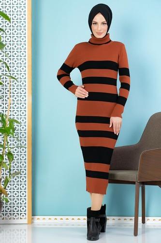 Modaebva - Çizgili Bilek Üstü Triko Elbise-301 Kiremit