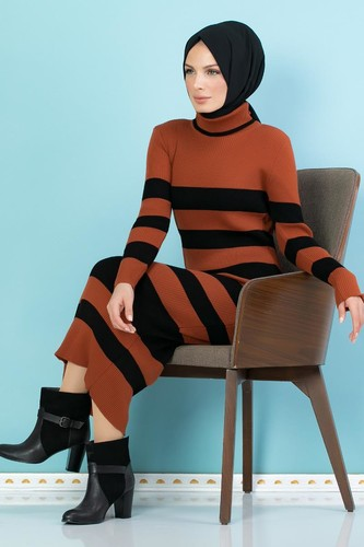 Modaebva - Çizgili Bilek Üstü Triko Elbise-301 Kiremit (1)