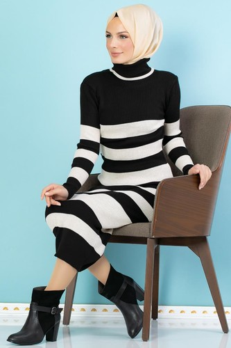 Modaebva - Çizgili Bilek Üstü Triko Elbise-301 Siyah