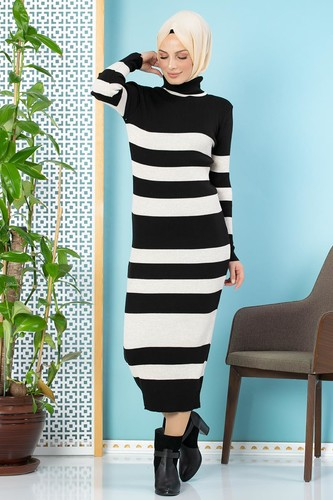 Modaebva - Çizgili Bilek Üstü Triko Elbise-301 Siyah (1)