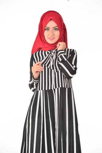 - Çizgili Kravatlı Tunik Siyah-4044 (1)