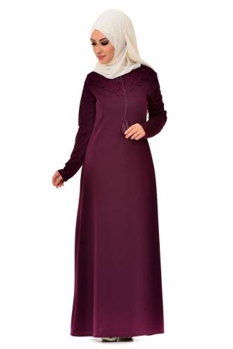 Modaebva - Dantel Detaylı Düz Elbise Bordo-4061