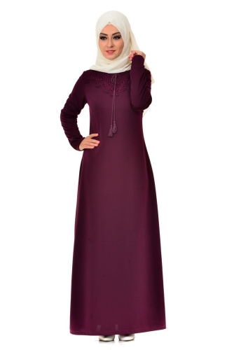 Modaebva - Dantel Detaylı Düz Elbise Bordo-4061 (1)