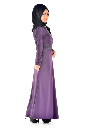 - Deri Detaylı Elbise 4053 mor (1)